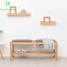 Solid wood for shoes stool storage entrance bench simple modern Japanese log long chair fabric sofa