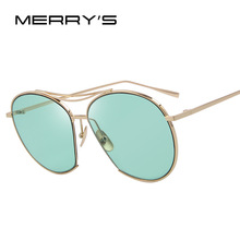 MERRY'S Women Bang Fashion Sunglasses Classic Brand Designer Sunglasses Vintage Twin Beam Metal Frame Glasses S'8006