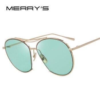 Merry's estrondo das mulheres óculos de sol da moda clássico marca designer óculos de sol feixe duplo óculos de armação de metal do vintage s'8006