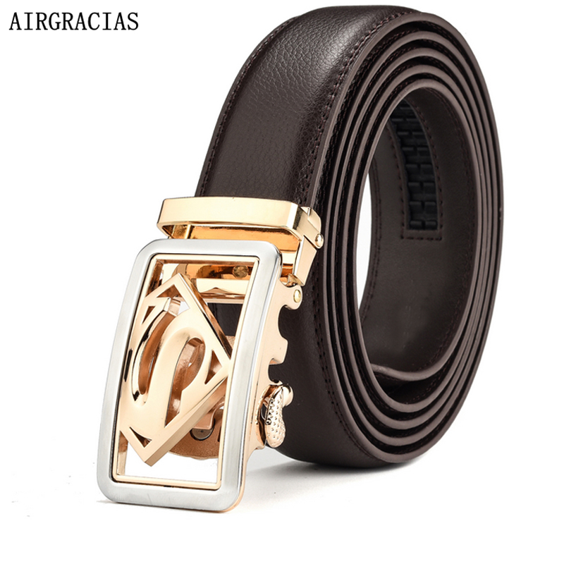 AIRGRACIAS Men Genuine Leather Belt Men Belt Gold ...
