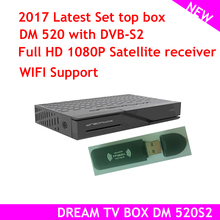 2pcs 2017 latest set top box model dream tv box DM 520 with dvb S2 Tuner Linux Satellite Receiver Full HD 1080p(China)