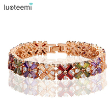 Buy LUOTEEMI Luxury Rose/ Champagne Gold Color Multicolour Cubic Zircon Bracelet Bangles Women Charm Bridal Wedding Bracelet for $10.75 in AliExpress store