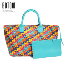 Botom New Design Handbags Women Woven Large Bag Multicolor High Quality Faux Leather Totes Bag Fashion Hand Made Cabat Bag Purse