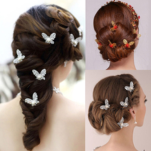 6 Pcs Butterfly U Shaped Hairpin Bride Headwear Wedding Party Hair Accessories