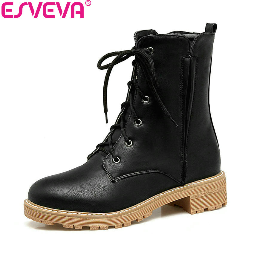 ESVEVA 2018 Western Style Women Boots Square Med Heels Chunky Spring Autumn Ankle Boots Round Toe Platform Lady Shoes Size 34-43<br>
