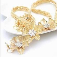 Fahion Flower metal all-match diamond-studded women's diamond chain belt for women,free shipping(China)