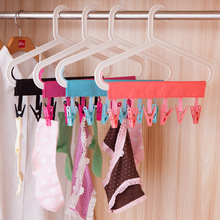 1PC Portable Floding Cloth Clothes Hanger Travel Bathroom Hanger Rack For Socks Towel Clips Clothes Pegs(China)