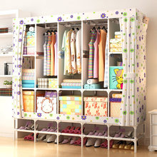 XXL Wardrobe With shoe rack Non-woven Fabric frame reinforcement Standing Storage Organizer Detachable Clothing bedroom furnitur(China)