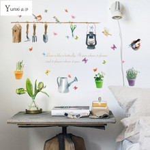YunXi New Birds Butterfly Pools Stickers Kitchen Cabinets Glass Living Room Bedroom Background Decorative PVC Wall Stickers(China)