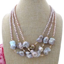 "K110109 19"" 3Stands Purple Keshi Pearl Necklace(China)"