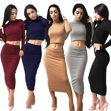 2017 New 2 Pieces Sexy Women Long Sleeve Bodycon Party Cocktail Club Skirt+Tops Set Elegant Lady Turtleneck Fleece vestido Dec12