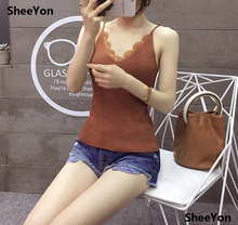 SheeYon summer new women's 2018 Slim lace patchwork tops Woven Knitted Camisole Brown 1f0Yg4(China)