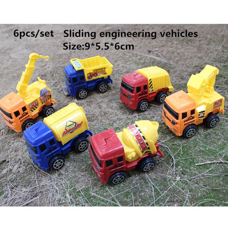 6pcs/set Dazzling Toys Construction Vehicles Sliding Early Learning Toy car Quality plastic Collectible Model Toy Holiday gifts(China (Mainland))