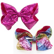 "3Pcs/Lot 8"" Huge Sequins Hairbow Clips Fashion Girls Hair Accessories Party Hair Clips for Women(China)"
