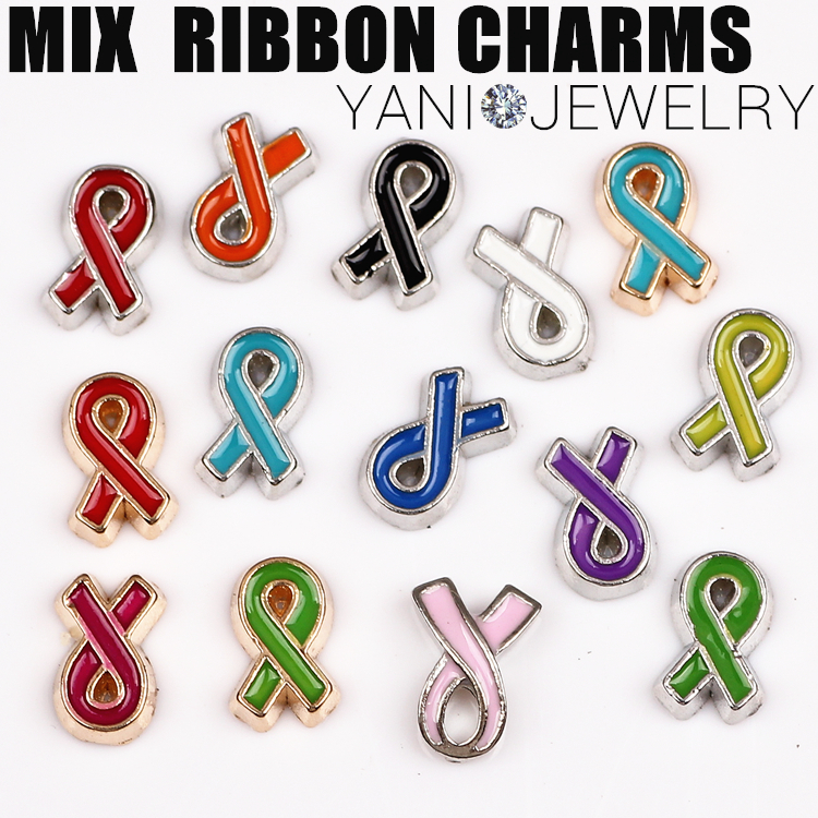 20pcs/lot Free Shipping Enamel Ribbon Cancer Charms Ribbon Charms For Glass Living Floating Locket(China)