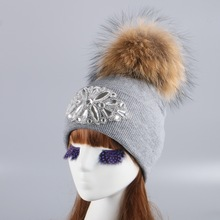 women girl mink fox ball winter hat cap knitted crochet thick thermal wool beanie hats white black large pompom skullies gorros
