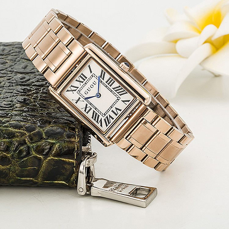 GUOU Wristwatches  High-Grade Womens Watches  Quartz Movement Rectangular Stainless Steel Strap Retro Roman Scale<br><br>Aliexpress