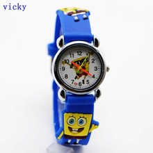 Free Shipping  Cute SpongeBob Watch,3D Cartoon Quartz Promotion children Digital for Xmas
