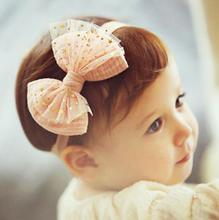 2017 New Fashion Cute Kids Girl Pink Yellow Chiffon Gold Star Cute Bow Top Knot Headband Elastic Hairband Hair Accessories