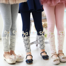 2017 Spring Korean Style Kid's Clothes Girls Solid Lace Bow Baby Kids Flower Bowknot Child Legging Trousers Lace Girls Pants(China)
