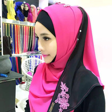 Turban embroidered flowers lace sleeve head stitching women Summer Scarf hijab(China)