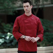 2017 Restaurant Hotel Kitchen Chef Coats Jackets Uniform Double Breasted Button White Black Red Wine Color Long Sleeves Unisex