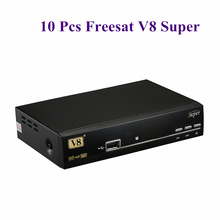 10Pcs Freesat HD V8 Super DVB-S2 receiver satellite receptor WIFI Adapter Optional support Cccam Powervu Youtube Biss Key Newcam
