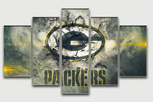 5 Pieces/set Green Bay Packers Printed Painting Famous Home Wall Art Design Living Room Paintings Decorative Pictures Framless
