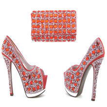 057 Most Popular Latest African Super High Heels And Bag High Class Elegant Italian Shoes and Bag Set For Party With Full Stones