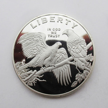 USA American Eagle Sliver Commemorative Coin Liberty Plated Sliver Coins(China)