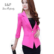 XXL Lace White Blazer Solid Suits For Ladies Blazers Plus Size Bodycon Women Work Wear  Candy Color Coat Yellow Balser