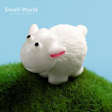 5pc/lot Kawaii Mini Sheep Animals Miniatures Figurines Home Decoration Fairy Garden Bonsai Ornament Doll Toys DIY toy gift(China)