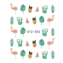 1 Sheets Nail Designs Tropical Flamingo Pineapple Coconut Leaf Cactus Stencils for Nail Art Sticker Summer Water Tips CHSTZ502