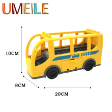 UMEILE Baby Toys Duplo Original City School Bus Vehicle Car Model Big Building Block Best Gift Brinquedos Educational Play House