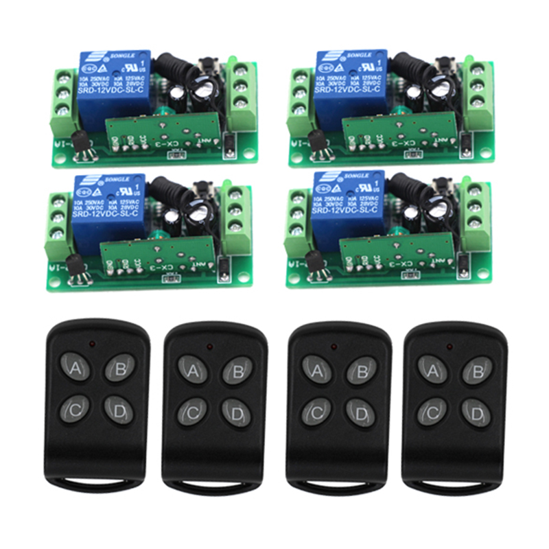 DIY!New Free Shipping DC 12V 10A 1CH Learning Code RF Wireless Remote Control Switch Systems 4 Receivers 4 controllers 3426<br>