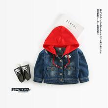 2017 new arrive girls coat fashion caps jeans jackets childrens outerwear NZ279