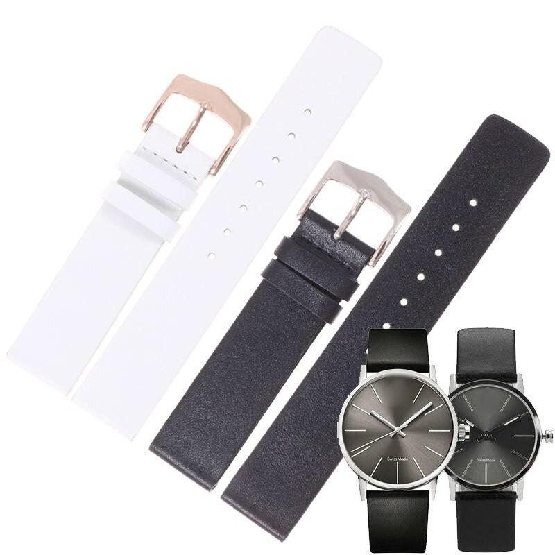 MASAQI  Genuine Leather WatchBand Soft Black Watch Strap for CK Calvin Klein K76221 K 76222 16mm 18mm  High Quality<br>