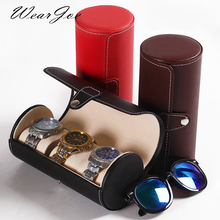 Quality Faux Leather Jewelry Storage Travel Bag For Watch Bracelet Sunglass 3 Flocked Carrying Pillow Wrist Watch Packaging Case