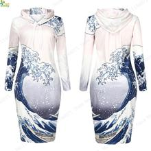 3D The Great Wave Off Kanaga Hoodie Dress Pullover Long Sleeves Winter Women Sweatshirt Dress Knee-Length Hooded Tennis Dresses