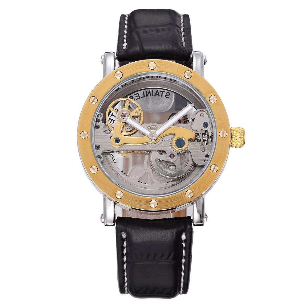SHENHUA Casual Male Clock Automatic Mechanical Mens Wristwatch Relogio Masculino Stainless Steel Transparent Case Bridge Watch<br>