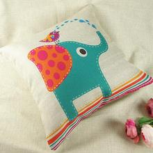 Cartoon elephant cotton linen decorative pillows cushion cover Travesseiros 43x43cm pillowcase Factory direct sale cheap price(China)