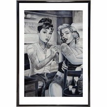 Funny Tattoo Hepburn Marilyn Vintage Retro Posters And Prints Home Decoration Large Silk Fabric Painting Modern Wall Art Picture