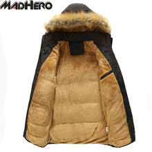 MADHERO Solid Hat Detachable Fur Collar Lining Thick Warm Men's Parkas Long Winter Jacket Men Ribbed Cuff Windproof Snow Coat(China)