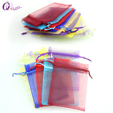 Multi-color optional 50pcs/lot 7*9cm organza Christmas wedding gift bags jewelry packing drawable organza pouch bags