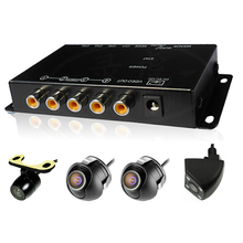 4 Cameras switch control box IR Remote Car Multiple Cameras Video Image for Front/Rear/Left/Right View reverse Parking System(China)