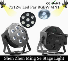 Fast shipping 7x12w led Par lights RGBW 4in1 flat par led dmx512 disco lights professional stage dj equipment(China)