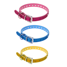 Fashion Bling Dog Collar Adjustable Row Rhinestone Dog Collar Diamante Necklace Pet Collars PU Leather E#CH(China)