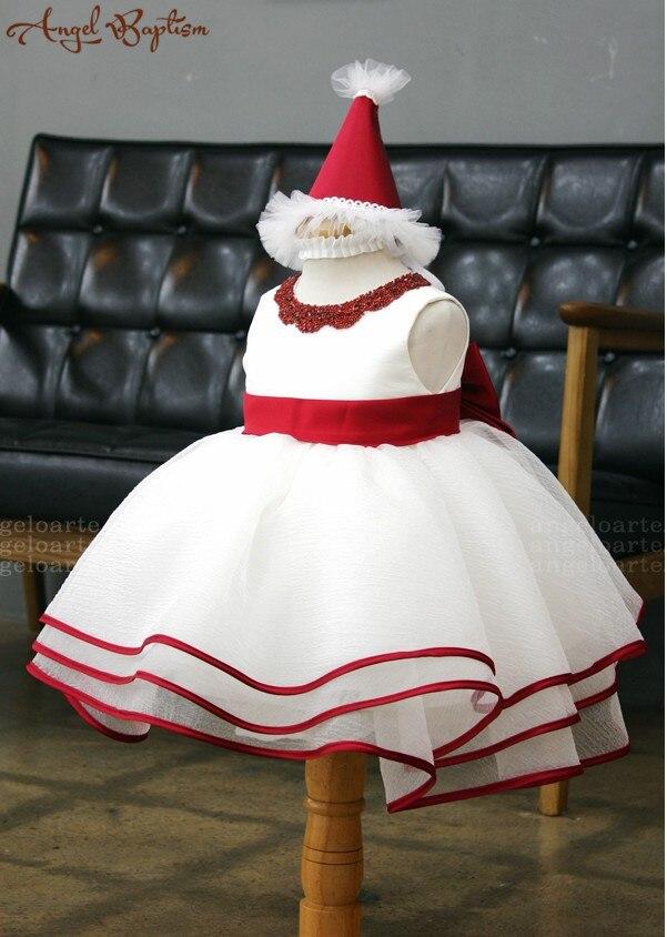Beaded White Girl Dress with Red Sash Sleeveless Baby Girl Pageant Dress Infant Easter Dress Toddler Girl Birthday Dress<br><br>Aliexpress