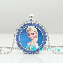 New Snow Queen Necklace Cute Elsa Crystal Pendant Glass Fairy Tale Jewelry Silver Ball Chain Necklaces Pendants For Women