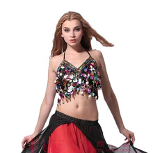2017 Women Belly Dance Costumes New Arrival Twinkling Sequined Bra Top Beaded Fringe Dancing Costume Sexy Hanging Coin Diamond(China)